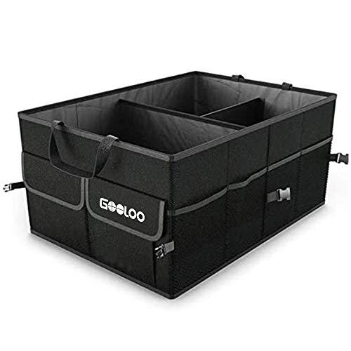 GOOLOO Kofferraumtasche Auto Aufbewahrung,Kofferraum Organizer Rutschfester Boden, Wasserdicht Langlebig Zusammenklappbar Gepäckraum, mit stabilen rutschfesten Haken 1680D für Auto PKW SUV