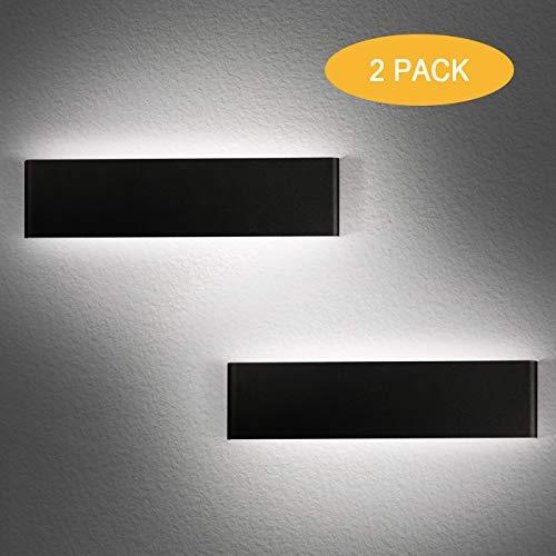 2 Stücke LED Wandlampen Innen 12W Wandleuchten Up Down Wandlicht weiß 6000K Aluminium Wandlampe