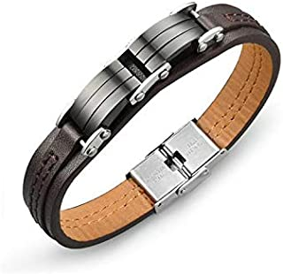 Titanium Steel Chic Leather Men Bracelet ty7963