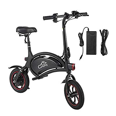 "PEXMOR Folding Electric Bike, 12"" 350W 36V Bicycle with LCD, Sturdy Tire, Waterproof & Safe, Lightweight, Quick Charge, for Adults and Teenagers"