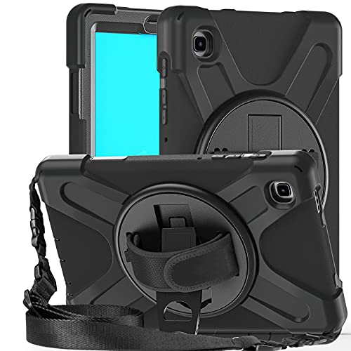 Fonrest Funda con Pata de Cabra para Samsung Galaxy Tab A7 Lite 8.7 pulgadas (SM-T225/T220) 2021, Carcasas Híbrida Anti-choque con Agarre Giratorio de 360°, Correa de Hombro (Negro)