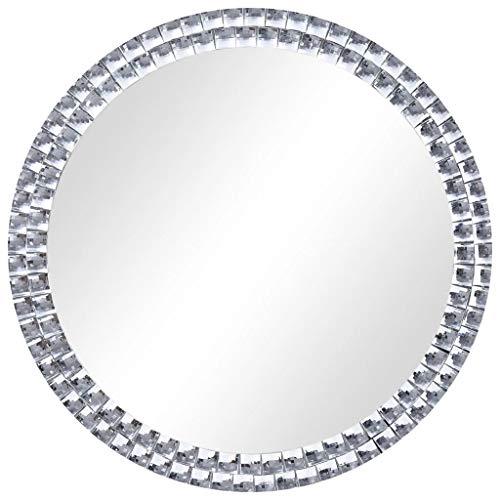 VidaXL Wandspiegel, badkamerspiegel, decoratieve spiegel, kapspiegel, halspiegel, badkamer, woonkamer, rond, zilver, 40 cm, gehard glas