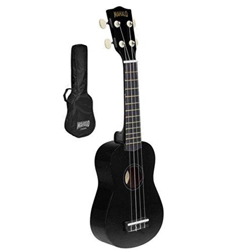 MAHALO - U30G-BK - ukulele soprano erable noir avechousse