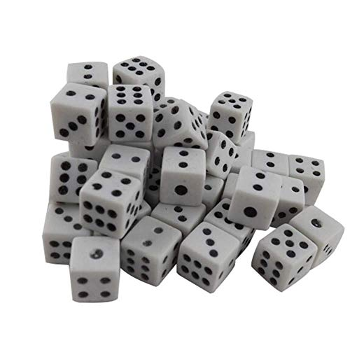 Carry stone 100er Pack 8mm weiße Würfel mit schwarzen Punkten für Brettspiele, Aktivität, Casino-Thema, Partyartikel, Spielzeuggeschenke Langlebig und praktisch