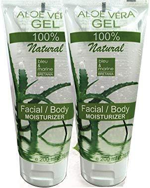 100% Natural Aloe Vera Gel (2 x 200 ml) - Face Hair Body - After Sun -...