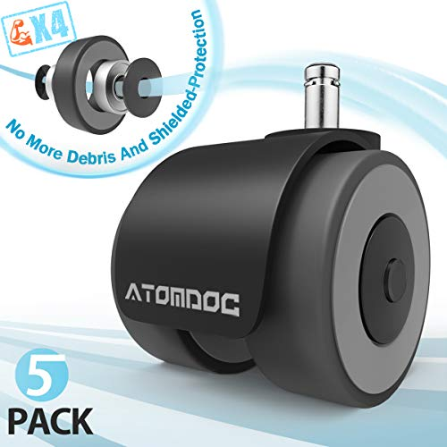 ATOMDOC Office Chair Caster Wheels, Newly Revolutionary Quadruple...