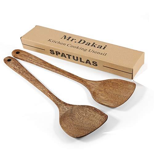"Mr.Dakai Wooden Spatula for Cooking Nonstick, Kitchen Wok Spatula Utensil Set,14"" Wooden Turner Serving Tool for High Heat Stirring in Nonstick Pans"