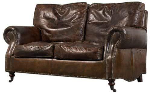 Gales - Sofá de 2 plazas, piel auténtica, estilo vintage, color marrón...
