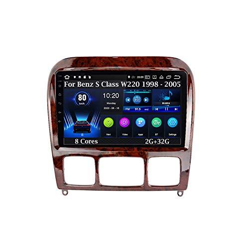 Android 9 Pulgadas Estéreo GPS Navi De Coches Reproductor De Vídeo para Mercedes Benz S Class W220 1998 - 2005 8 Cores 2G+32G Car Player con Pantalla Coche Conecta Y Reproduce Bluetooth