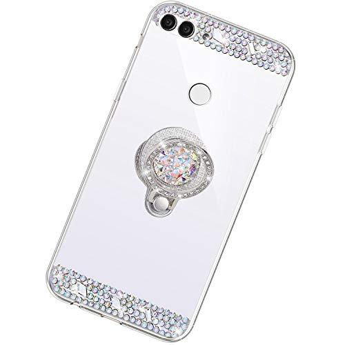 Funda Compatible con Huawei Enjoy 7S/P Smart.Espejo Glitter Diamante Anillo Soporte Brillo TPU Transparente Silicona Suave Carcasa Cover Mirror Bling Moda Ultrafino Protective Bumper Case,Plata