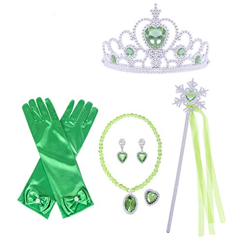 HenzWorld Princess Dress Up Jewelry Accessories Green Gloves Ribbon Wand Tiara Necklace Costume Role Pretend Cosplay Party Presents for Little Kids Girls Children Age 3-14 Years Old