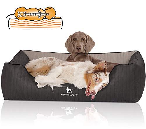 Knuffelwuff Orthopädisches Hundebett Hundekorb Hundekissen Hundekörbchen aus Kunstleder Outback M-L 85 x 63cm Schwarz/Grau