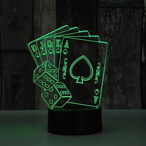 NIUBB 3D Poker noche luz lámpara 7 cambio de color LED táctil USB mesa regalo niños juguetes decoración Navidad San Valentín regalo cumpleaños