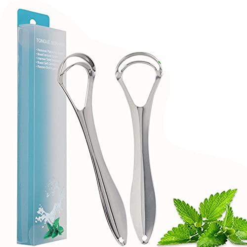 Limpiador lingual de acero inoxidable (2 unidades), 100% mejor material antimicrobiano – Mangos...