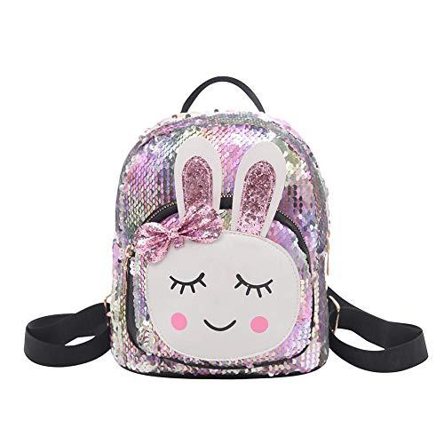Demiawaking Mini Zaino con Paillettes Zainetto Coniglio Carino Borsa da Viaggio Glitterata Borsa da Scuola per Bambini Ragazze (Multicolore)