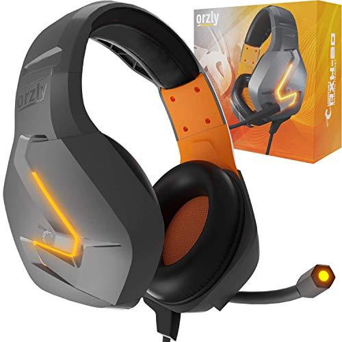 Orzly Auriculares Gaming Compatible con PS5, PS4, PC, Xbox, Nintendo Switch, con microfono, Sonido Premiun RGB Luz LED, cancelación de Ruido - Hornet RXH -20 Vesuvius Edicion