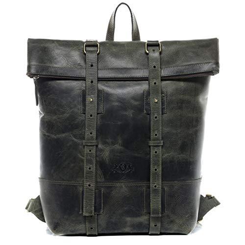 SID & VAIN Rucksack echt Leder CHAZ | Vintage-Look | XXL groß Backpack Tagesrucksack Kurierrucksack 15,4