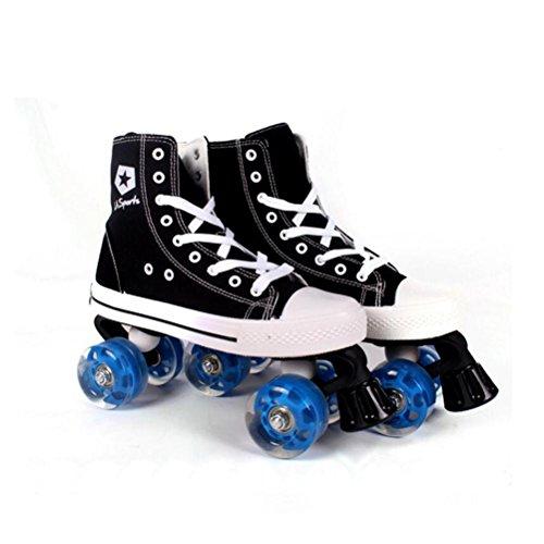 ZZY Einreihig Rollschuhe Zweireihige Canvas Schlittschuhe Roller Schuhe Erwachsene Inline Skates Für Frauen und Männer, Black, 44-45