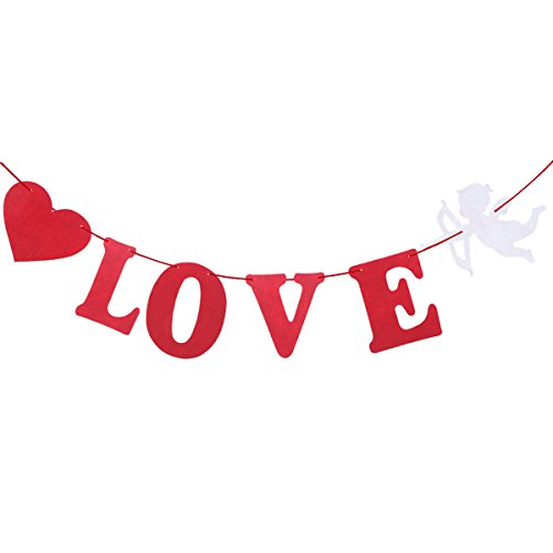 """Tinksky - Festone di San Valentino, con scritta """"I Love You"""", con figura di Cupido, ideale per decorazioni di matrimonio, anniversario o proposta di matrimonio"""
