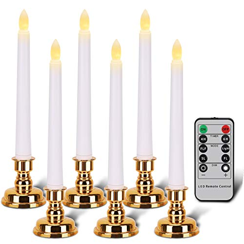 Flameless Flickering Taper LED Window Candle Battery Operated,Removable Golden Candle Stands, with Remote Timer, Christmas Home Decor.(6 Candles Base)
