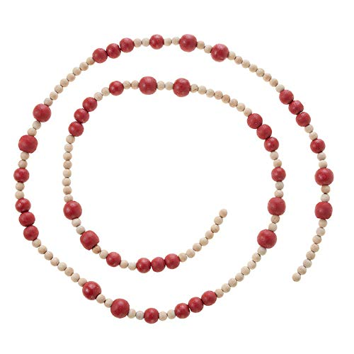 RAZ Imports 5 Foot Wooden Bead Garland Natural and Red - Holiday Garland Decoration