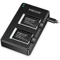 ENEGON NB-13L Paquete De Baterías De Lones De Litio (2-Pack) y Cargador USB Dual para Cámaras Canon PowerShot G5X,G7X,G7 X Mark II,SX720 HS,SX730 HS,SX740 HS,SX620 HS,G1X Mark III,G9X,G9X,G9X Mark II
