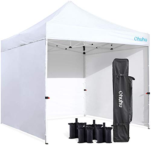 Ohuhu Sturdy 10 x 10 FT Pop-up Canopy Tent with Reinforced Metal Frame, 4 Removable Zipper End Side Walls & Wheeled Carrying Bag, Bonus 4 Weight Bag
