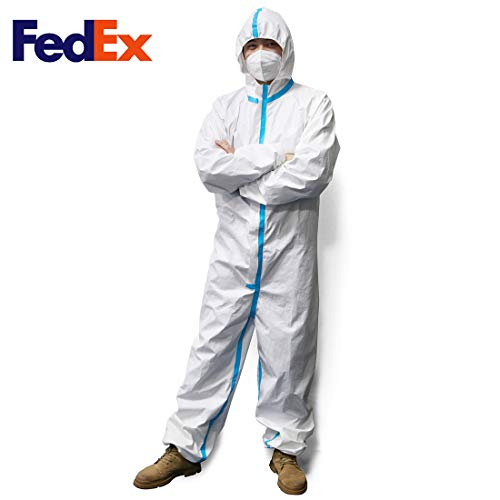 PAGE ONE Disposable Protective Coverall Suit,Long Front Zipper,Elastic Waistband & Cuffs,Attached Hood,Isolation Suit,1PC