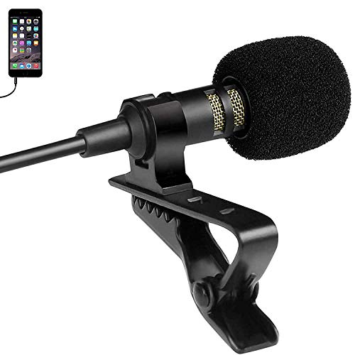 Rednix collar mic clip with long cable for mobile,DSLR camera Recording Singing YouTube on Smartphones School and Tuition Classes (Black)