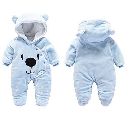 Baby Winter Fleece Overall Jumpsuit Neugeborenes Mädchen Junge Niedlich Bär Strampler Schneeanzug Outfits Spielanzug mit Kapuze Footies, Blau, 0-3 Monate/59CM
