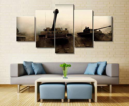 ZPDWT Tanque Militar del Mundo de la Guerra del ejército 5 Panel Pared Arte Pintura Impresiones Cartel Lienzo 5 Paneles Moderno Arte De La Pared Dormitorio Cuadros Decoración Hogar Marco 150x80cm