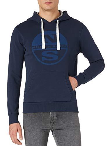 NORTH SAILS Hooded Sweater W/Graphic Felpa con Cappuccio, Blue Navy, Large Uomo