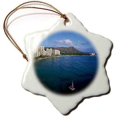 ymot101 Arco Iris, Cabeza de Diamante, Waikiki, Oahu, Hawaii, Douglas Peebles, Adorno de Copo de Nieve, Porcelana, 3 Pulgadas