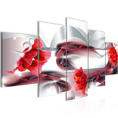 Runa Art - Quadri Fiori Tulipani 200 x 100 cm 5 Pezzi XXL Decorazione Murale Design Grigio Rosso 206351b