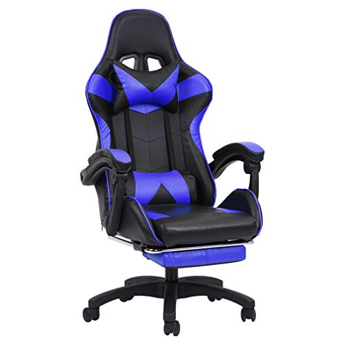 Gaming Chair With Footrest Office Chair High Back Computer Chair PU Leather Desk Chair rgonomic Backrest and Seat Height Adjustment Recliner Swivel Rocker with Headrest and Lumbar Support E-Sport Blue