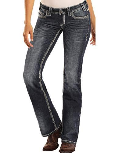 Rock & Roll Cowgirl Womens Mid Rise Riding Jeans - Boot Cut Denim in Dark Vintage Wash, 26W x 34L