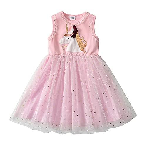 DXTON Vestidos para Niñas Vestido de Unicornioio Vestido de Princesa Ropa de Fiesta para Niños RosaSh4864 4T