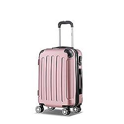 Flexot 2045 Handgepäck Koffer (Bordcase) - Farbe Rosa (Pink) Größe M Hartschalen-Koffer Trolley Rollkoffer Reisekoffer Handgepäck 4 Rollen