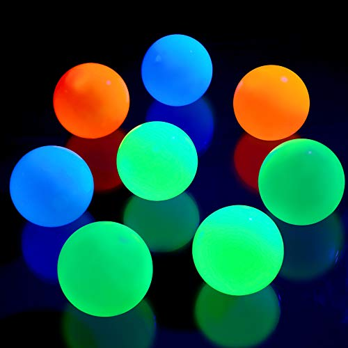 Skylety 8 Pieces Fluorescence Glowing Sticky Balls That Gets Stuck on The Roof Luminous Stress Ball for Decompression Relax Toy Teens and Adults (White, Blue, Orange, Green, 1.8 Inches)