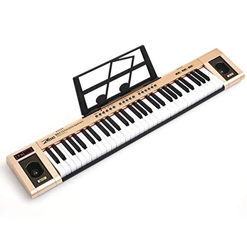 ZHRUNS Elektrisches Keyboard 61 Tasten & Noten Notenständer-Tragbares elektronisches Keyboard-Musikinstrument mit Kopfhöreranschluss & Unterrichtsmodi für Anfänger (Erwachsene und Kinder) (Goldene)
