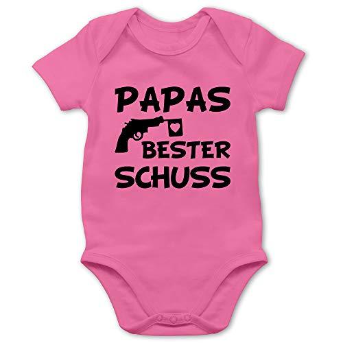 Vatertagsgeschenk Tochter & Sohn Baby - Papas Bester Treffer - 6/12 Monate - Pink - Baby Body Beste - BZ10 - Baby Body Kurzarm für Jungen und Mädchen
