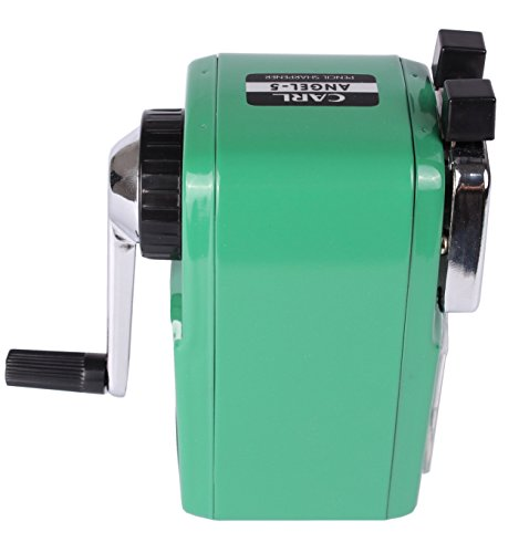 CARL Angel 5 Manual Pencil Sharpener Heavy Duty but Quiet for Office and Home Desks School Classroom,Green Photo #4