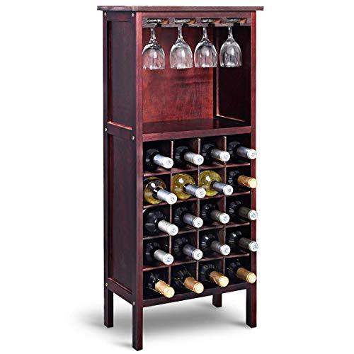 COSTWAY Cantinetta Portabottiglie in Legno, Scaffale per Vino con Portabicchiere Calici (Marrone Rossastro)