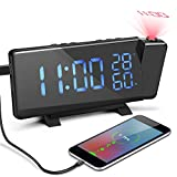 Allnice Projection Alarm Clock, Adjustable Brightness Digital FM Radio Alarm Clock with Dual