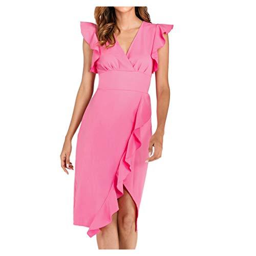 Gugavivid Damen V-Ausschnitt Ärmellose Rüschen Slim Fit Kleid Einfarbig Elegante Unregelmäßige Partykleider(Hot pink,M)