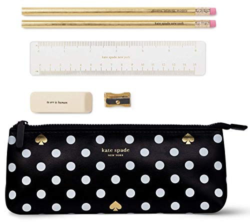 Kate Spade New York Pencil Case Including 2 Pencils Sharpener Eraser and Ruler School Supplies Polka Dots Black/White