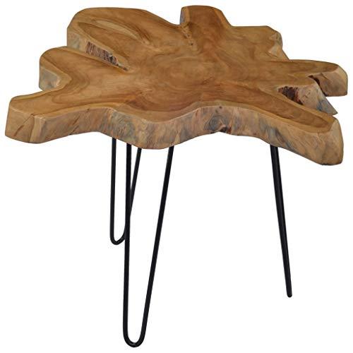 Festnight Couchtisch Wohnzimmertisch Beistelltisch Holztisch Kaffeetisch aus Teak-Hartholz für Schlafzimmer,Wohnzimmer (60-70)×45 cm