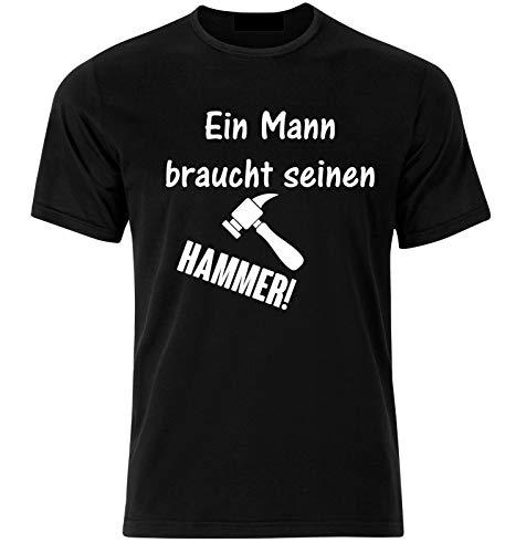 T-Shirt mit Druck Handwerker T-Shirt mit Spruch, Flockdruck, Schwarz, Hammer
