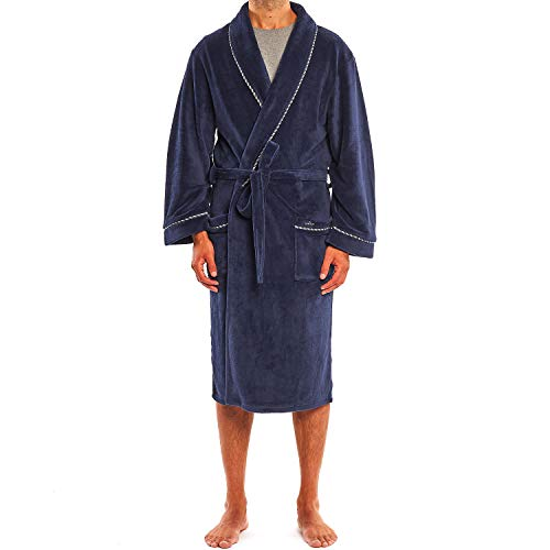 Savile Row Men's Navy Fleece Rope Edge Dressing Gown XL