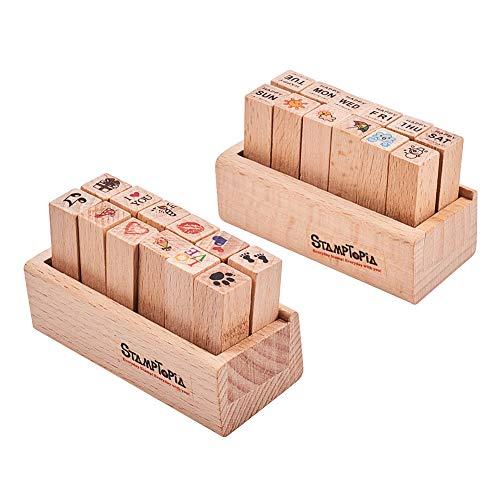 WANDIC Mini-Holzstempel aus Gummi, 24 Stück, 2 verschiedene Motive, mit Holzbox für Bastelarbeiten, Kartenherstellung und Scrapbooking